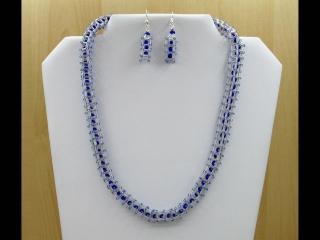 30% reduziert - Schmuckset Quader mit Perlenfüllung; Collier+Ohrringe; weiß-blau - Handarbeit kaufen