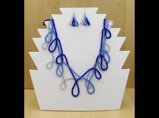 Schlaufen Set aus Rocailles 2,6mm; Kette + Ohrringe; blau - Handarbeit kaufen