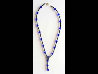 Y-Kette aus Rocailles und Glasperlen, schwarz-blau - Handarbeit kaufen