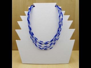 Kette mehrreihig aus Stiftperlen; blau-silber - Handarbeit kaufen