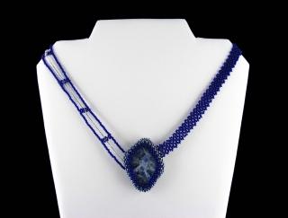 Collier Sodalith - asymetrisch; blau - Handarbeit kaufen