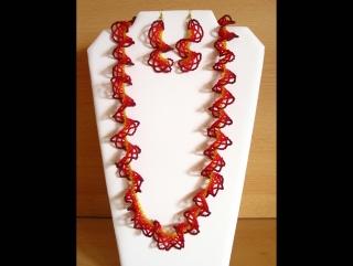 Ruffle Chain Schmuckset aus Rocailles; Kette + Ohrringe; rot-orange-gelb
