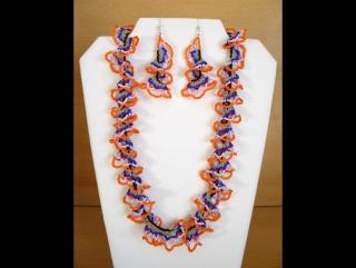 Ruffle Chain Schmuckset aus Rocailles; Kette + Ohrringe; bunt-orange-lila