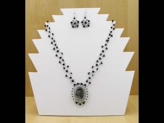 Schmuckset mit Cabochon aus Picasso Marmor; Kette + Ohrringe; schwarz-silber