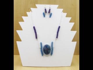 Schmuckset mit Cabochon aus Drachenvenenachat; Kette + Ohrringe; türkis-lila