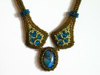 Schmuckset Kate mit Cabochon aus Jaspis Meeressediment; Collier + Ohrringe; olivgrün-türkis - Handarbeit kaufen