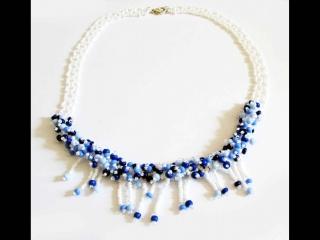 30% reduziert - Collier Perlenbank aus Rocailles; weiß-blau
