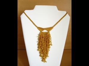 Korallencollier aus Rocailles 1,5mm; gold - Handarbeit kaufen