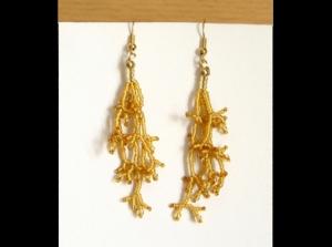 Korallenohrringe aus Rocailles 1,5mm; gold - Handarbeit kaufen