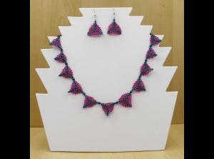 Peyote-Dreiecke; Schmuckset aus Rocailles und Glasperlen; Kette + Ohrringe; himbeer-blutstein - Handarbeit kaufen