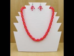30% reduziert - Spiralkette + Ohrringe aus Stiftperlen und Wachsperlen; orange-pink