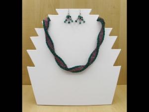 Spiralkette + Ohrringe aus Stiftperlen und Rocailles; beere-petrol - Handarbeit kaufen
