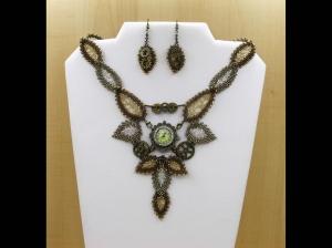 Schmuckset mit Uhr - Natur ist zeitlos - Collier + Ohrringe; bronze antik-gold