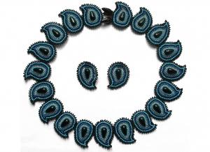 Schmuckset Paisley - Collier + Ohrstecker; schwarz-blau-türkis - Handarbeit kaufen