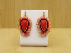 Paisley Ohrringe aus Rocailles und Glasperlen; apricot-koralle - Handarbeit kaufen