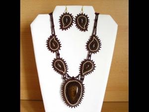 Schmuckset - Paisley mit Bronzit - Collier + Ohrringe; braun-bronze-creme - Handarbeit kaufen
