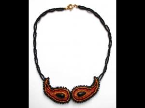 Paisley Kette aus Rocailles und Glasperlen - Maskenoptik; schwarz-orange-gold - Handarbeit kaufen
