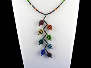 Y-Kette mit beaded beads aus Rocailles + Stiftperlen; Regenbogen-schwarz - Handarbeit kaufen