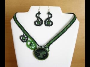 Spiralen Schmuckset mit Eldarith; Collier+Ohrringe; grün - Handarbeit kaufen