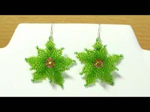 Ohrringe mit Blüten aus Rocailles; grün-pink - Handarbeit kaufen