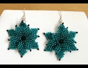 Ohrringe mit Blüten aus Rocailles; petrol-schwarz - Handarbeit kaufen