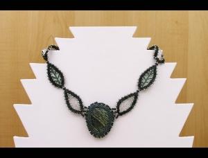 Collier Russian Leaves mit Silberauge - grün - Handarbeit kaufen