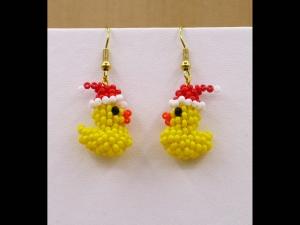 Ente mit Weihnachtsmannmütze - Ohrringe aus Rocailles - Handarbeit kaufen