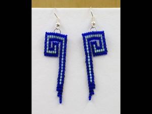 Ohrringe zu Mäandercollier mit Glascabochon; blau; groß - Handarbeit kaufen