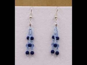 Ohrringe zu Mäandercollier mit Glascabochon; blau - Handarbeit kaufen