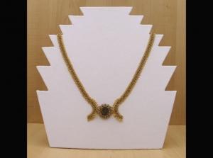 Collier mit Cabochon aus Leopardenfell Jaspis; gold-grau - Handarbeit kaufen