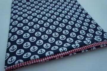 Baumwoll-Loop maritm / sommerlicher Schal mit Ankern und Karos * handgenäht