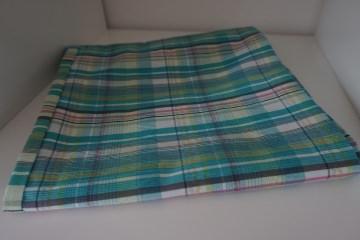 Baumwoll-Loop türkis / sommerlicher Schal mit Karos * handgenäht