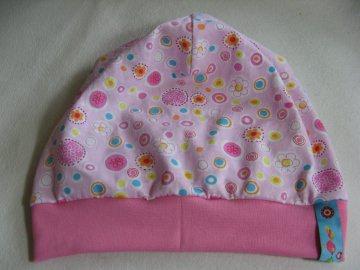 leichtes Beanie - Sommermütze rosa - Gr. 3 - aus Baumwoll-Jersey - handgenähtes Einzelstück