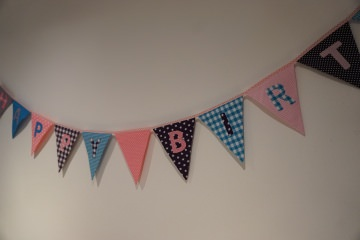 Geburtstagsgirlande - Happy Birthday - rosa/lila/türkis - Wimpelkette - handgenäht