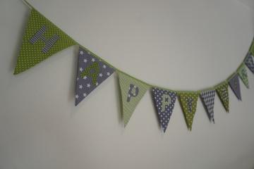 Geburtstagsgirlande - Happy Birthday - grün/grau - Wimpelkette - handgenäht
