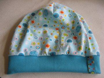 leichtes Beanie - Sommermütze türkisblau - Gr. 3 - aus Baumwoll-Jersey - handgenähtes Einzelstück