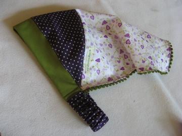 Kopftuch 'Lila Herzchen' - aus Baumwolle handgenäht -  für große Mädchen