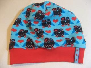 Beanie-Mütze mit Eulenmotiv aus Baumwoll-Jersey - handgenäht in Wunschgröße