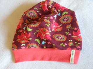 Sweat-Beanie mit Blütenranken - Gr. 3 - aus Baumwoll-Jersey - handgenähtes Einzelstück