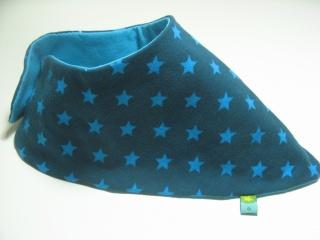 Jersey-Halstuch Sterne petrol-türkis / handgenähtes Einzelstück