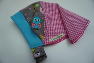 Kopftuch mit Eulen auf grau - aus Baumwolle handgenäht -  für kleine Mädchen