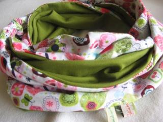 Jersey-Loop rosa-grün / handgenähtes Einzelstück - Handarbeit kaufen