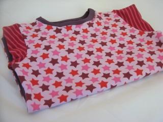 LA-Shirt 'STARS' - rosa-lila-pink - Gr. 110 - Einzelstück handgefertigt - Mädchenpullover
