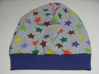 Beanie-Mütze 'Bunte Sterne' aus Baumwoll-Jersey - handgenäht in Wunschgröße - Handarbeit kaufen