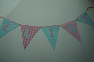 Tür-Girlande mit Name - rosa/mint - kleine Wimpelkette - handgemacht