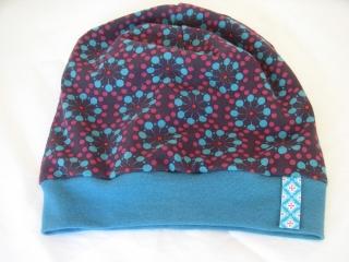 Beanie-Mütze 'Feuerwerk' aus Baumwoll-Jersey - handgenäht in Wunschgröße - Handarbeit kaufen