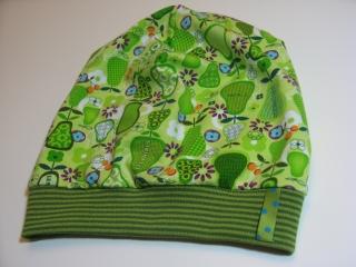 Beanie - 'Grüne Birnen' - Gr. 2 - aus Baumwoll-Jersey - handgenähtes Einzelstück