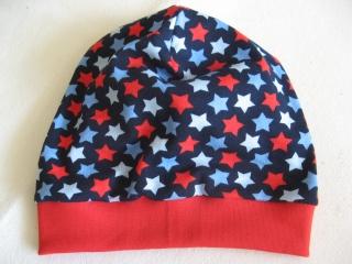 Beanie - 'Sterne auf marine - Gr. 3 - aus Baumwoll-Jersey - handgenähtes Einzelstück - Handarbeit kaufen