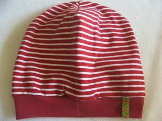 Ringelbeanie rot-weiß - Gr. 2 - aus Baumwoll-Jersey - handgenähtes Einzelstück