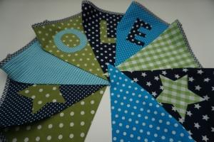 Wimpelkette mit Name - türkis/marine/grün - große Wimpelkette - handgemacht